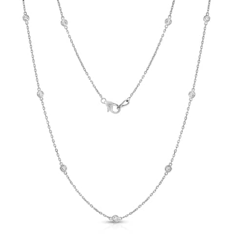 Noray Designs 14K White Gold 1.2ct TDW Diamond Station Necklace