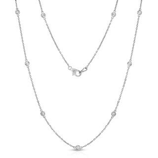 Noray Designs 14K White Gold 1.2ct TDW Diamond Station Necklace