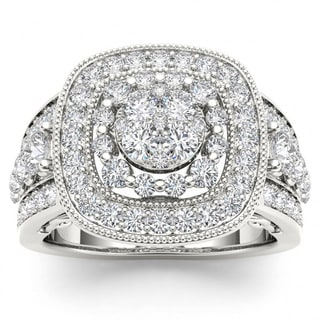 De Couer 14k White Gold 1 1/2ct TDW Diamond Cluster Double Halo Engagement Ring - White H-I