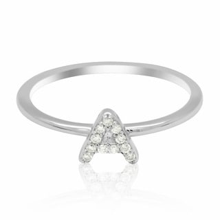 JewelMore Sterling Silver Diamond Accent stackable Initial Ring (petite)