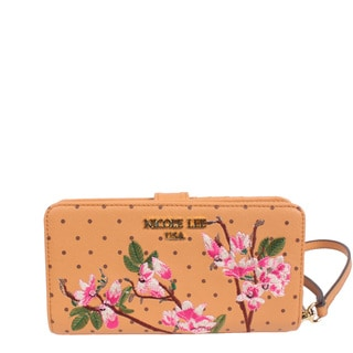 Nicole Lee Kayley Pink Faux Leather Floral Embellishment Wallet