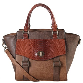 Diophy Faux Leather 2-tone Front Pocket Snake Skin Pattern Flap and Buckle Top Handle Tote Bag