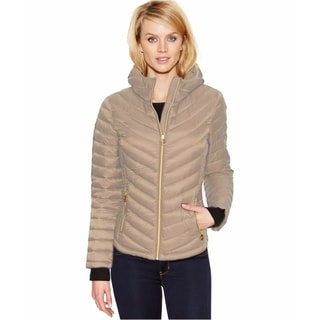 Michael Kors Taupe Down Chevron Quilted Jacket
