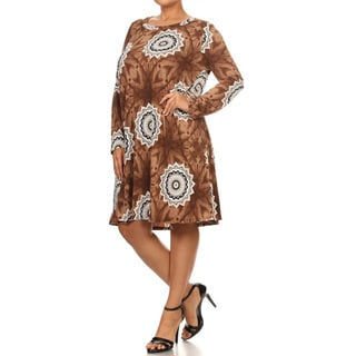 Women's Mandala Brown and Grey Polyester-blend Plus-size Short Dress