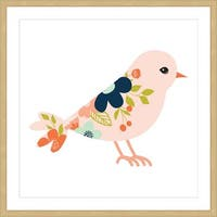 Marmont Hill - 'Pink Flower Bird' by Melanie Clarke Framed Painting Print - Multi