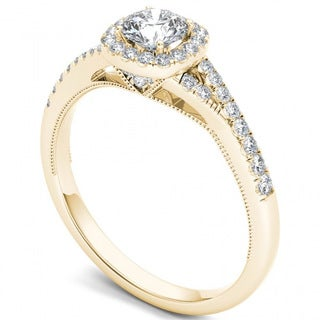 De Couer 14k Yellow Gold 5/8ct TDW Diamond Halo Engagement Ring (H-I, I2)
