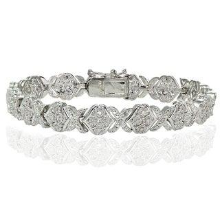 DB Designs Silvertone 1ct TDW Diamond XOXO Link Bracelet