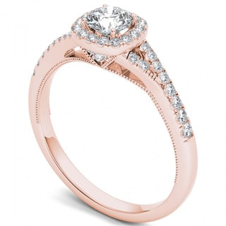 De Couer 14k Rose Gold 5/8ct TDW Diamond Halo Engagement Ring