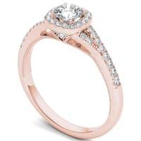 De Couer 14k Rose Gold 5/8ct TDW Diamond Halo Engagement Ring - Pink
