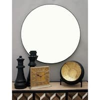 Modern 36 Inch Round Wall Mirror - Black