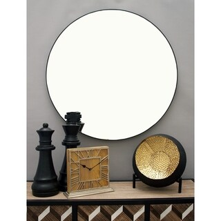 Modern 36 Inch Round Wooden Wall Mirror by Studio 350 - Black