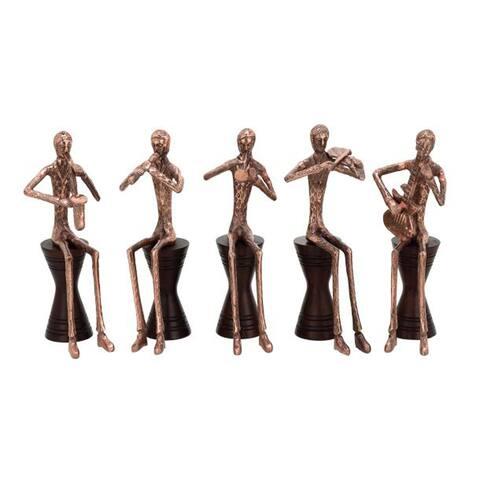 Benzara Artistic Copper Finish Aluminum and Wood Musician Figurines (Pack of 5)