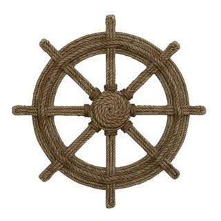 Benzara Nautical Brown Wood and Rope Decorative Ship Wheel