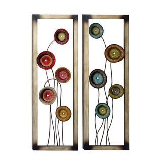 Benzara Iron Metal Floral Wall Decor (Pack of 2)