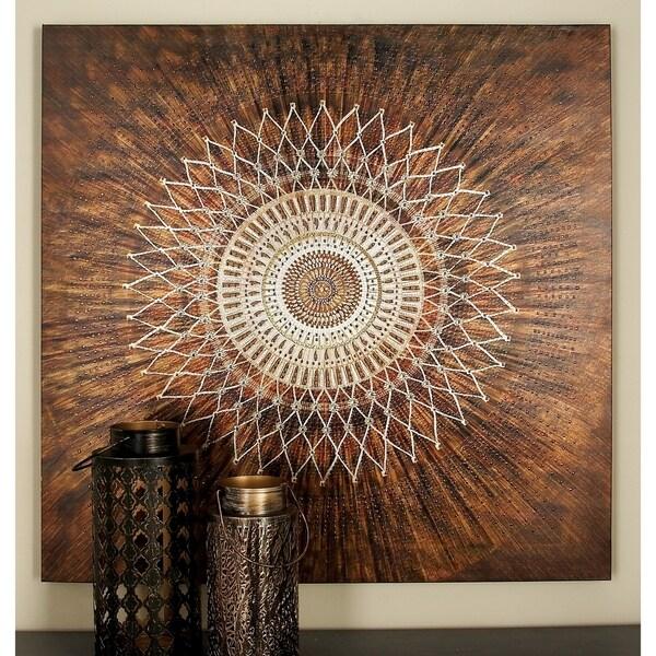 Benzara Exciting Canvas Metal Art Print - Brown