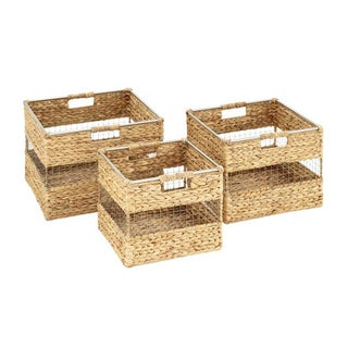 Benzara Wicker and Metal Basket (Pack of 3)