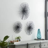 Benzara Silver-colored Metal Tube Wall Decor (Pack of 3)