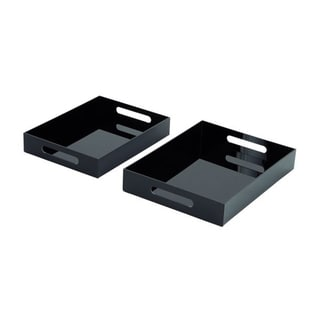 Elegant Acrylic Black Tray (Pack of 2)