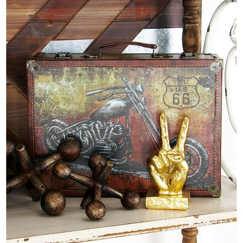 Set of 2 Eclectic 15 and 17 Inch Treated Wood Suitcases by Studio 350 - multi
