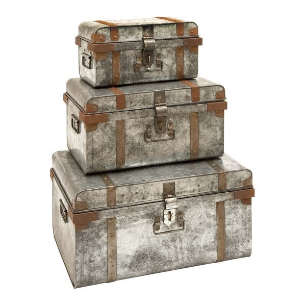 Set of 2 Eclectic 15 and 17 Inch Treated Wood Suitcases by Studio 350 - grey - N/A