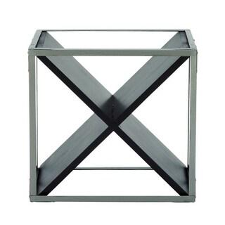 Benzara Silver-tone Metal and Black Wood Wine Rack