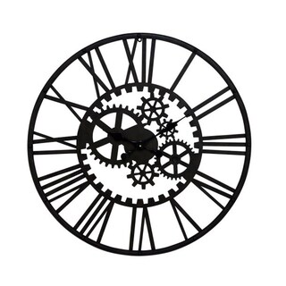 Industrial 32 Inch Iron Black Gear-Inspired Wall Clock by Studio 350