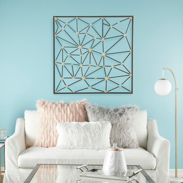 Shop Modern Style Large Square Abstract Art Metallic Gold ...