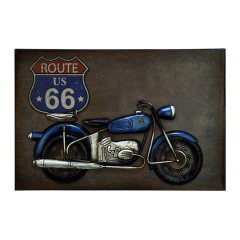 Benzara Appealing Route 66 Motorcycle Metal Wall Decor