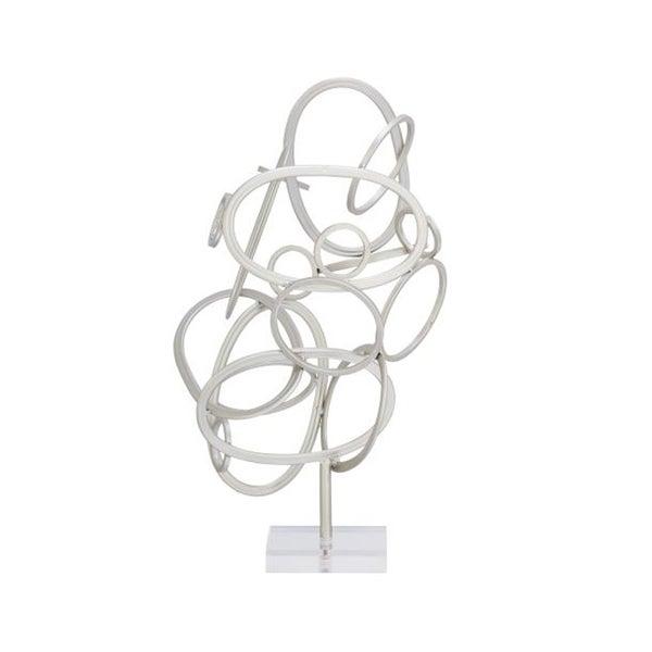 Benzara Contemporary-style Silver Metal and Acrylic Sculpture