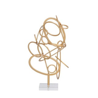 Benzara Modern Gold Metal Acrylic Sculpture