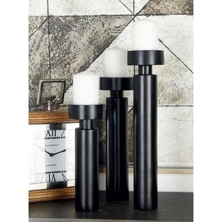 Benzara Black Wood and Aluminum Candleholders (Pack of 3)