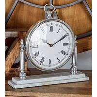Benzara Marble/Aluminum Table Clock