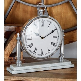 Traditional 12 x 12 Inch Silver Round Table Clock by Studio 350