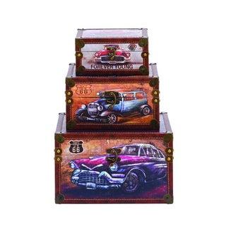 Benzara Wood Box (Pack of 3)