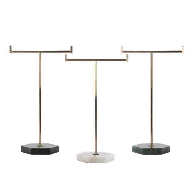 Shop Metallic Gold Metal T Shaped Jewelry Holder On Hexagon Stand Overstock 13041294