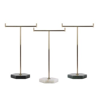 Metallic Gold Metal T-Shaped Jewelry Holder on Hexagon Stand