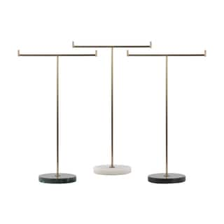 Urban Trends Collection Metallic Goldtone Metal T-shaped Jewelry Holder on Round Stand (Assortment of 3 Colors)