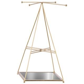 Metallic Finish Goldtone Metal Pyramidal Jewelry Holder With Mirror Floor