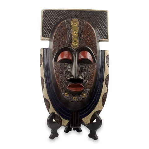 Handmade Sese Wood 'Royal Posture' Authentic African Mask and Stand (Ghana) - Brown - N/A