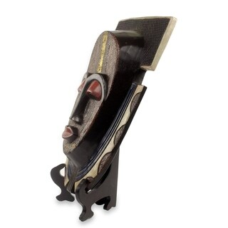 Handmade Sese Wood 'Royal Posture' Authentic African Mask and Stand (Ghana) - Brown