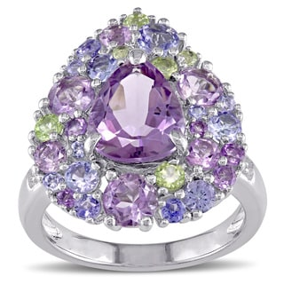 Miadora Tanzanite Rose de France Peridot Amethyst and Diamond Accent Pear-Cut Cluster Cocktail Ring in Sterling Silver