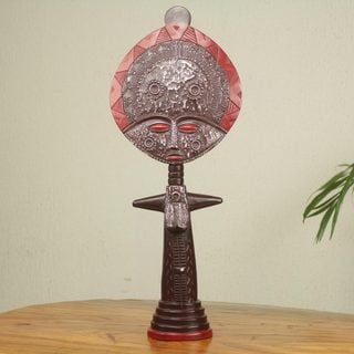 Handcrafted Sese Wood 'Akuaba I' Fertility Doll Sculpture (Ghana)