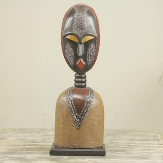 Handcrafted Sese Wood 'Togbe' Sculpture (Ghana)