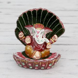 Handcrafted Enamel Aluminum 'Ganesha at Rest' Meenakari Sculpture (India)