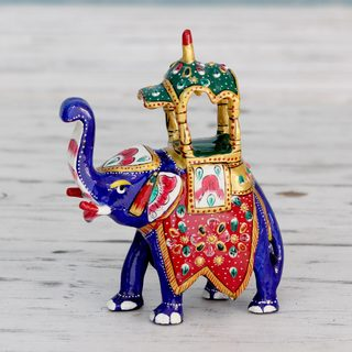 Handmade Enamel Aluminum 'Royal Elephant Ride' Meenakari Sculpture (India)