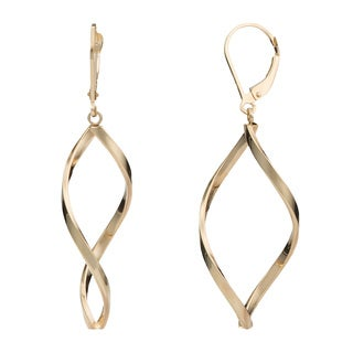 Fremada 14k Yellow Gold Twisted Marquise Leverback Earrings