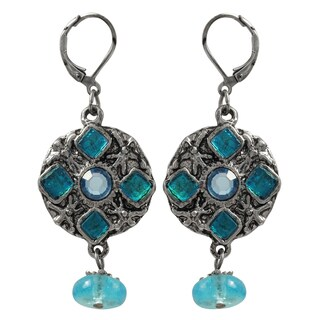 Luxiro Pewter and Lucite Bead Medallion Dangle Earrings