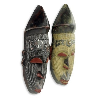 Set of 2 Handcmade Sese Wood 'Akan Chief II' African Wall Masks (Ghana)