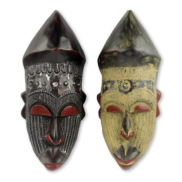 Set of 2 Handcmade Sese Wood 'Akan Chief II' African Wall Masks (Ghana)