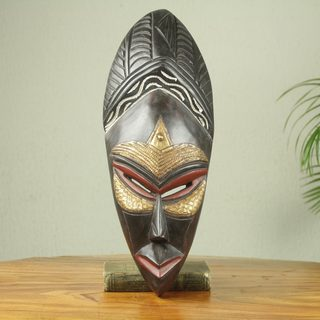 Handcrafted Sese Wood 'Nana Yaw' African Wall Mask (Ghana)